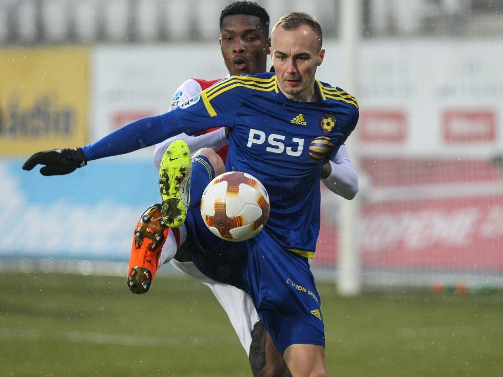 Zápas 17. kola první fotbalové ligy mezi FC Vysočina Jihlava a SK Slavia Praha, 17. února 2018 v Jihlavě.