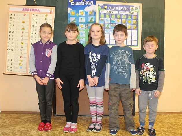 Na fotografii jsou žáci 1.třídy Základní školy ve Věžnici. Jejich třídní učitelkou je Marie Klubalová, která učí idruháky.