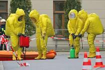 Taktické cvičení složek integrovaného záchranného systému v prostorách krajského úřadu v Jihlavě.