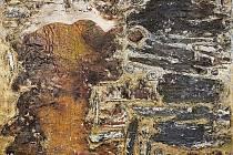 Obraz s názvem Sen o zlaté krajině, jde o koláž s olejomalbou.