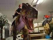 Pohladit si Velociraptora nebo se projet na Tyranosaurovi rexovi? Takovou možnost měli v sobotu návštěvníci parkoviště pod Horáckým zimním stadionem v Jihlavě.