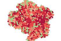 Mapa nakažených v obcích na Vysočině na sto tisíc obyvatel.