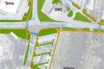 Křižovatka. Nepřehledná křižovatka se nachází mezi hřbitovem, čerpací stanicí ONO a supermarketem Terno.