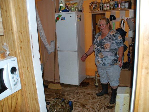 Libuše Žáková ze Svratky se mohla do uklízení pustit až po šesté večer. V bytěl jsou nyní na každém kroku hadry, kbelíky a košťata, sousedé si navzájem pomáhají v uklízení.