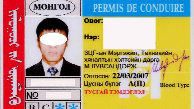 Upravené foto zadrženého mongolského ŘP.