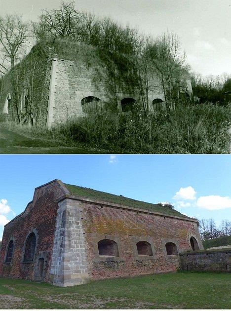 OCHRÁNCI PAMÁTEK pevnosti Josefov Ravelin No. XIV postupně odstraňovali náletovou zeleň, rekonstruovali strážnici, prachárnu, dělostřelecké kasematy a dostavěli část chybějících hradebních konstrukcí podle dobové dokumentace.