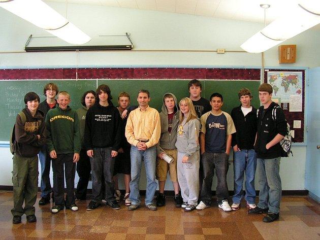 Jan Mach, učitel z Hronova, při svém pobytu ve Spojených státech amerických.