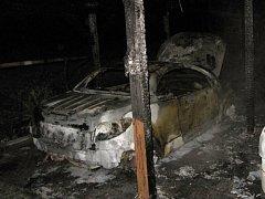 Požár garážového stání a přístřešku v Heřmanicích.