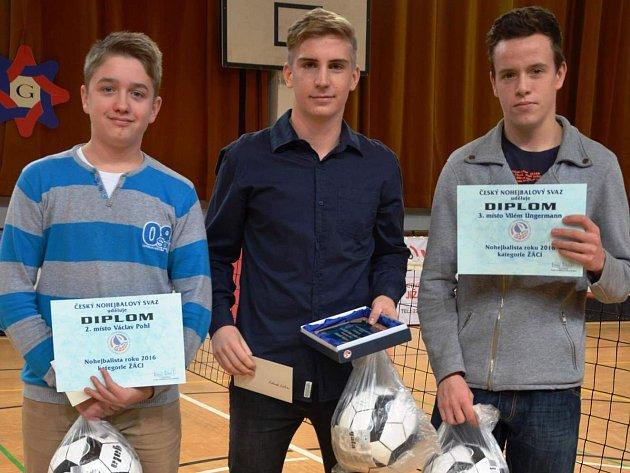 Mladý nohejbalista Zbečníka Václav Pohl (zcela vlevo) skončil v anketě Nohejbalista roku druhý v kategorii žáků.