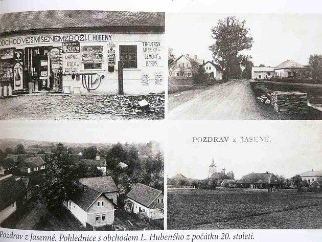 Historická pohlednice největší obce na Jaroměřsku zachycuje reálie počátků dvacátého století.