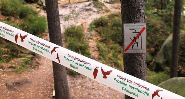 ZNAČENÍ HNÍZDIŠTĚ PÁSKOU, která upozorňuje turisty a zároveň jim včeštině a polštině zakazuje vstu.