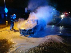 Požár automobilu v České Skalici