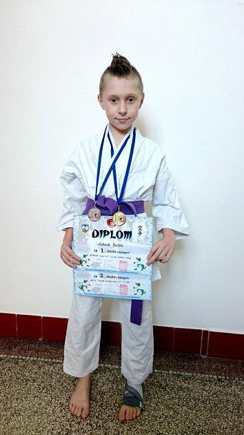 Jakub Šolín (1.místo - soutěž kumite).