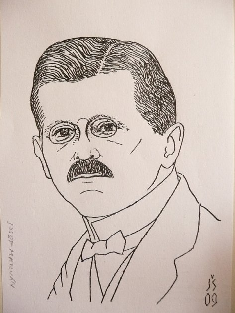 Josef Marvan na kresbě akademického malíře Jiřího Škopka