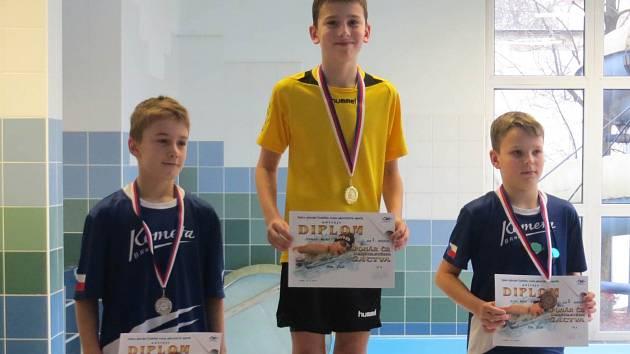 PLAVEC náchodského Delfínu Michal Jerman (uprostřed) vybojoval ve Vsetíně jedno zlato, čtyři stříbra a jeden bronz.