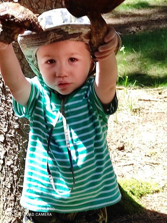 Z houbaření už má radost i malý Pepíček.