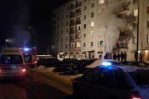 Požár na sídlišti Spořilov v Broumově.