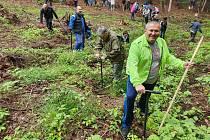 """Starosta, místostarostové, radní a zaměstnanci Městského úřadu v Náchodě zasadili na pasece určené pro zalesnění o výměře zhruba 0,40 ha v """"Babských zatáčkách"""" přibližně 2500 kusů sazenic dubu, buku a douglasky."""
