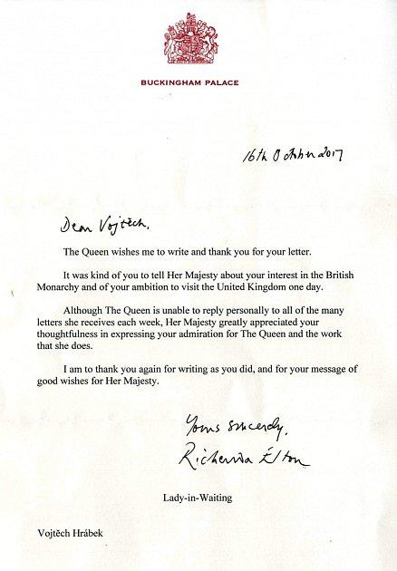 DOPIS ZBUCKINGHAM PALACE. Nynější student kvinty jednou bude moci svým dětem ukázat dopis zkrálovského paláce.