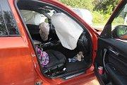 Řidička v průběhu jízdy ovládala navigaci a pravděpodobně si až na poslední chvíli všimla vozidla před sebou. Aby nenarazila do jeho zadní části, strhla volant a najela na ochranný ostrůvek u přechodu pro chodce.