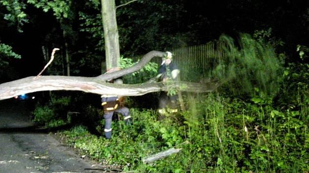 Spadlý strom v Ratibořicích odstranili hasiči z České Skalice.