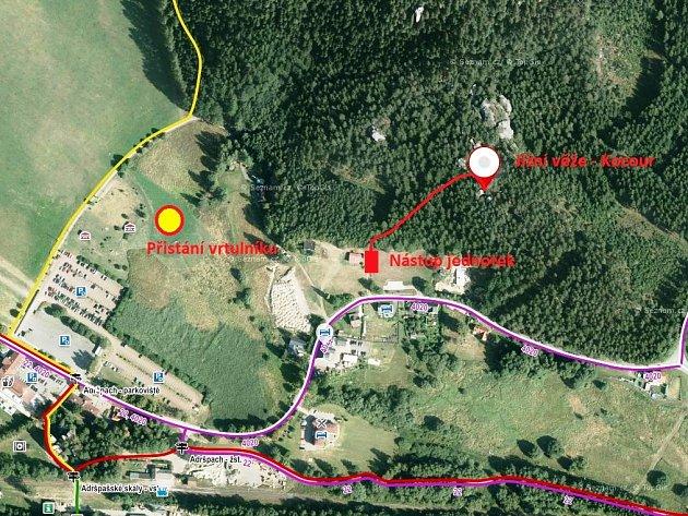Mapka oblasti Křížového vrchu v Adršpachu, kde došlo v neděli k pádu horolezce.