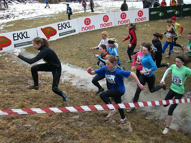 Druhé místo v kategorii dorostenek obsadila Katarzyna Chryczyk (vybíhá svaz na druhé pozici).