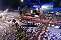 Havárie osobního automobilu v Náchodě-Bělovsi.