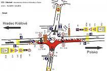 JAK SE BUDE JEZDIT na kruhovém objezdu u Slávie během první etapy jeho rekonstrukce, na to se můžete podívat na tomto nákresu.