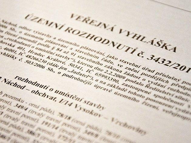 Územní rozhodnutí pro stavbu obchvatu Náchoda.
