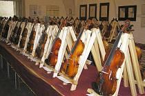 Vernisáž a výstava houslí na zámku v Náchodě, společně s výstavou unikátních výtvarných děl Mezinárodního současného umění. Obojí se konalo v rámci polského Art festivalu bez hranic.