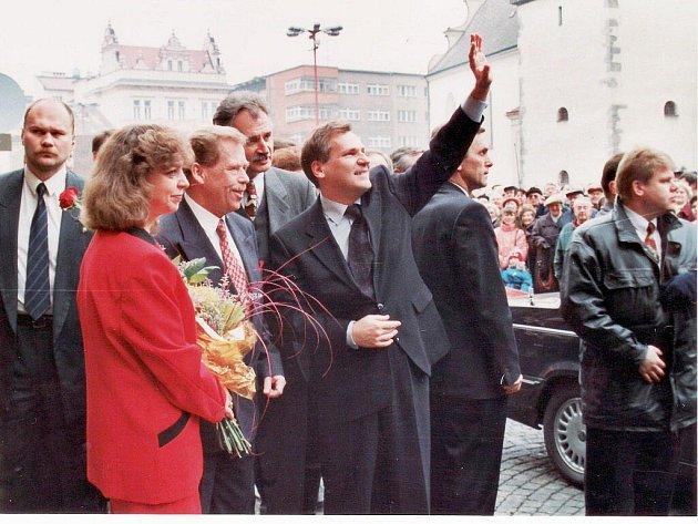 V Náchodě se Havel setkal se svým polským protějškem a poobědval s ním v Pekle.