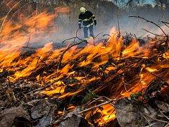 Suchou trávu pohltily plameny.