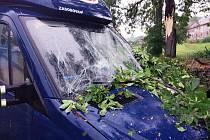 Dobrovolní hasiči z České Skalice vyjeli k odstranění stromu, který spadl na zaparkovanou dodávku.