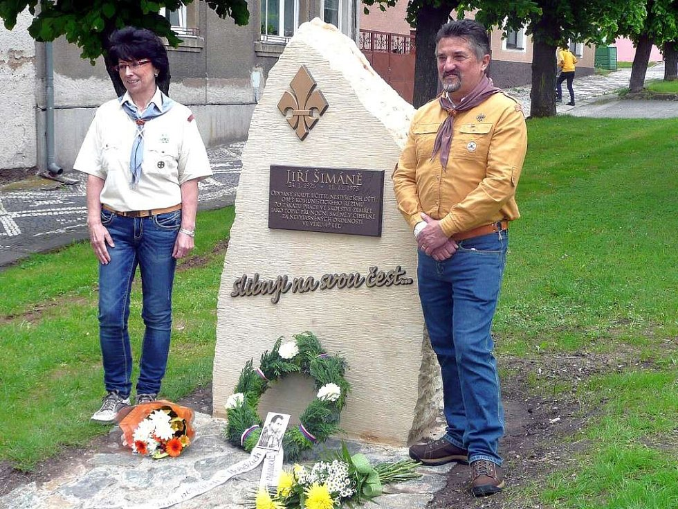 Odhalení pomníku Jiřího Šimáně.