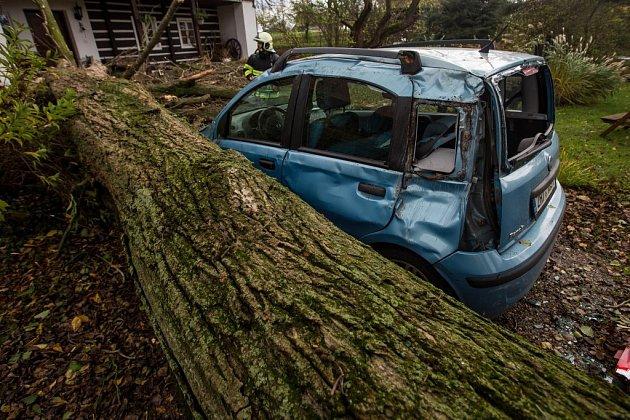 Vobci Vršovka nedaleko Nového Města nad Metují spadl vzrostlý strom na dům, poškodil izaparkovaný automobil.