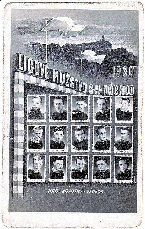 LIGOVÝ KÁDR pro rok 1938 – nahoře zleva: Nývlt, Franc, Mareš, Štumpf, Dušek; uprostřed – zleva: Šmejkal, Frýba, Zilvar, Dobeš, Zítko; dole – zleva: Veselý, Schloger, Habelt, Tajčner, Vojáček.