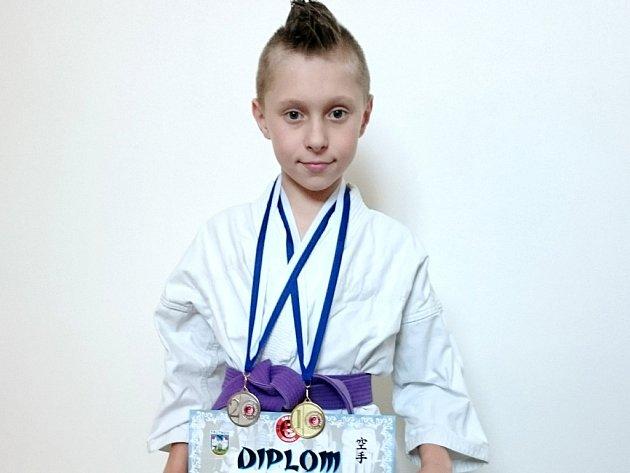 Jakub Šolín (1. místo - soutěž kumite).