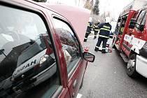 Autonehoda v Krčíně ve směru na Nahořany.