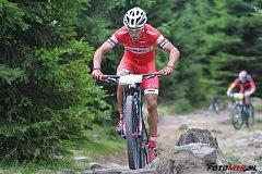 ČERVENOKOSTELECKÝ cyklista Michal Kaněra na trati závodu Epicka Czwórka v Polsku.
