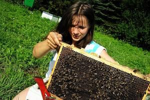Simona Adamcová z Rokytníka při práci s včelami.