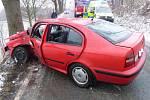 Náraz do stromu. Hasiči vytáhli z auta dva zraněné.