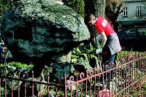Loni se podíleli žáci   machovské  školy  na rekonstrukci pomníku padlých v první světové válce (na snímku). Letos díky příspěvku zkrášlí park u fotbalového hřiště.