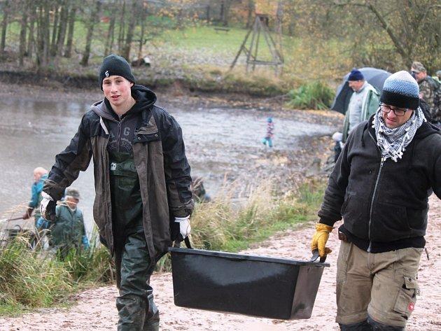 Období výlovů běží naplno. Poslední říjnovou sobotu putovali kapři z rybníku do sádek i v Hynčicích na Broumovsku.