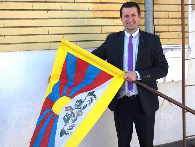 Vlajka pro Tibet v České Skalici