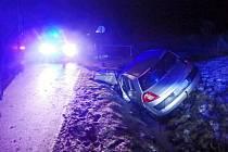 Havárie osobního automobilu v Heřmanicích.