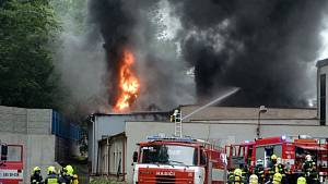 Požár v textilce Veba