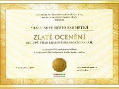 Novoměstský městský úřad se nově může pochlubit Zlatým oceněním pro nejlepší úřad Královéhradeckého kraje.