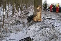 Na hlavním tahu na Broumov v lesním průsmyku v lokalitě Pasa vyjel řidič ze silnice a čelně narazil do stromu.