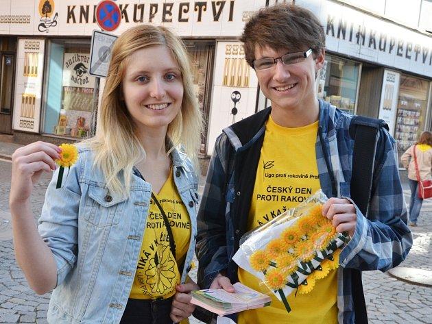 """Kytičky v celonárodní veřejné sbírce """"Květinový den"""" nabízeli nejen studenti zdejších škol, ale i náchodští skauti."""